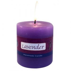 Lavender Pillar Candle - 3 X 3 Inch Hand Made-CP-LAV