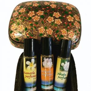 TROPICAL PERFUME GIFT SET in HANDPAINTED BOX-TROP-OIL-GIFT-BOX