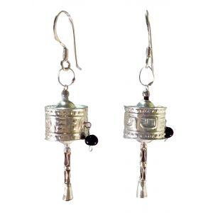 Tibetan Prayer Wheel Earrings Sterling Silver-SJ-4
