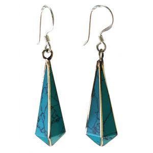 Tibetan Drop Earrings- Turquoise-SJ-9