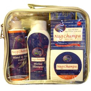 Nag Champa Spa Gift Set - (Lotion, Shampoo, Soap, Oil, Candle & Sachet)-SPA-1