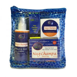 Nag Champa Lover's Spa Gift Set  (Lotion, Soap, Oil, Candle, Sachet) + Free Solid Perfume-SPA-5
