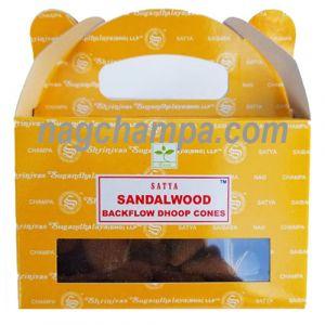 Sandalwood Backflow Cones (Satya) - Box Of 24-BFCONES-SANDAL