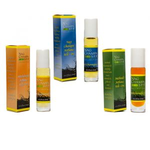 Perfume Roll-On Trio -Nag Champa, Sandalwood, Patchouli-OIL-ROLL-ON-TRIO