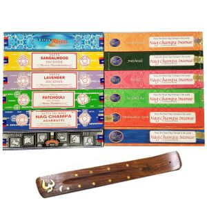 SUPER 12 Nag Champa Sampler- 15 grams- 12 Boxes with FREE BURNER-SUPER-12-SAMPLER