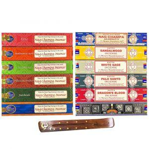 SUPER 12 Nag Champa Sampler- 15 grams- 12 Boxes with FREE BURNER-SUPER-12-SAMPLER