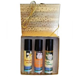 TROPICAL PERFUME ROLL-ON TRIO IN GIFT BOX - Plumeria, Gardenia, Pikake-TROPICAL-ROLL-ON-TRIO