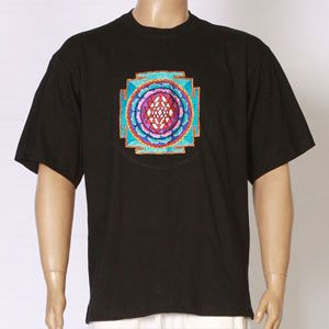 EMBROIDERED T-SHIRT SHRI YANTRA design - Black-TS-1