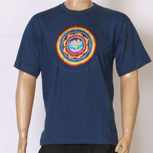 EMBROIDERED T-SHIRT- COSMIC OM design - Blue-TS-2