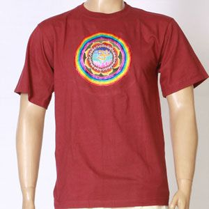 EMBROIDERED T-SHIRT-COSMIC OM design - Dark Red-TS-3