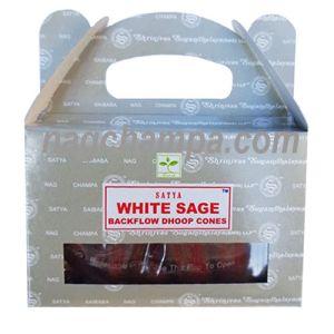White Sage Backflow Cones (Satya) - Box Of 24-BFCONES-WHITE SAGE