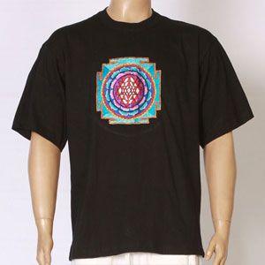 EMBROIDERED T-SHIRT SHRI YANTRA design - Black-TS-1